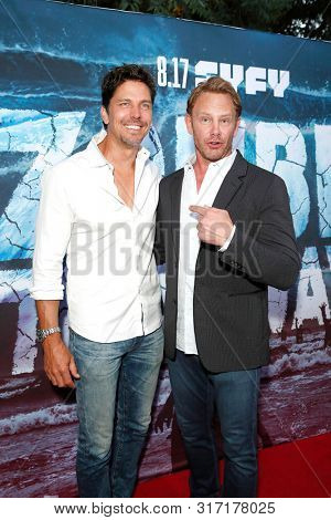 LOS ANGELES - AUG 12: Michael Trucco, Ian Ziering at the Premiere Of SyFy's