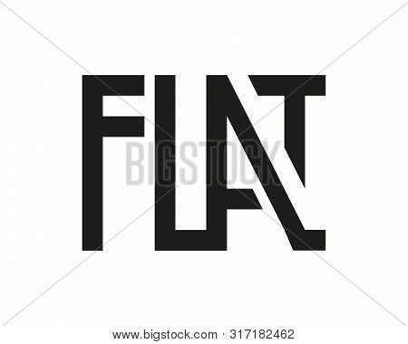 Flat Logo Black Isolated On White. Graphic Geometric Lettering. Grotesque Letters. Vector Illustrati