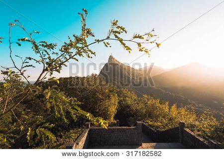 Beautiful Warm Sunset View In The Park With Corcovado Mountain In Rio De Janeiro