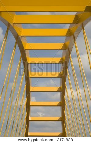 Yellow bridge crossing the Amsterdam-Rijn canal in Utrecht Holland poster