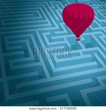Escape The Maze And Use A Hot Air Balloon. Isolated On Blue Background.