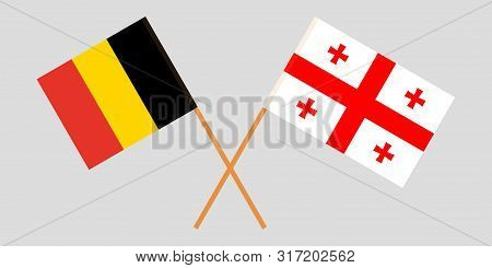 Georgia And Belgium. Crossed Georgian And  Belgian Flags. Official Colors. Correct Proportion. Vecto