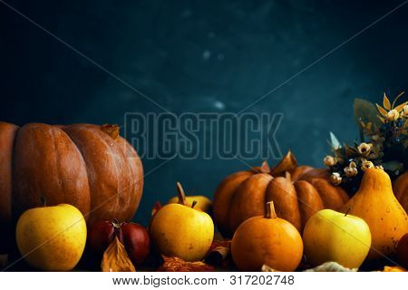 A Bunch Of Pumpkins And Apples. Happy Thanksgiving Day Background, Wooden Table Decorated With Pumpk