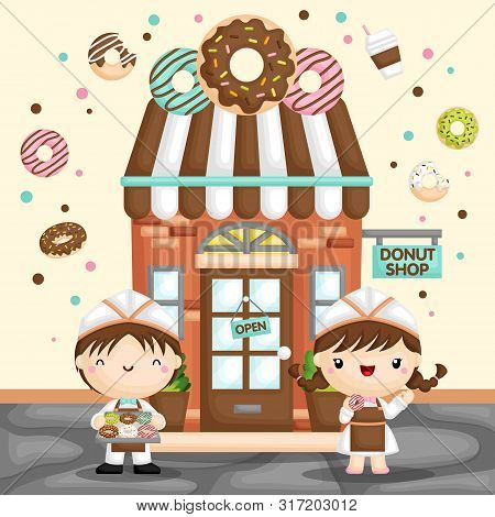 A Vector Of Cute Little Girl And Boy Selling Donut In Front Of A Donut Store