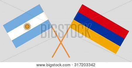 Armenia And Argentina. Crossed Armenian And Argentinean Flags. Official Colors. Correct Proportion.