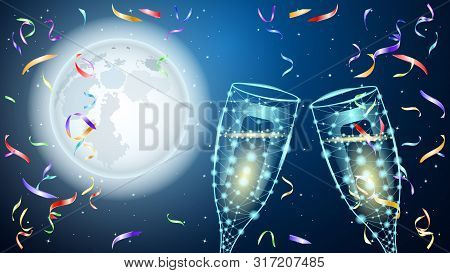 Poligonal Two Glass Of Wine. Huge Full Moon And Starry Sky. Colorful Shiny Confetti. Beautiful Night