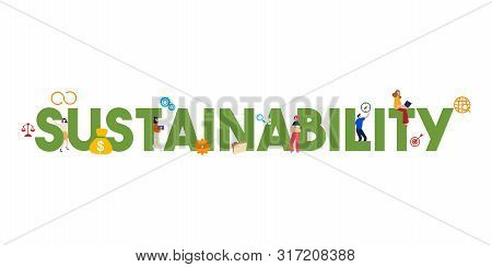 Banner Sustainability Concept. Society, Environment And Economy Vector Illustration. Sustainable Dev