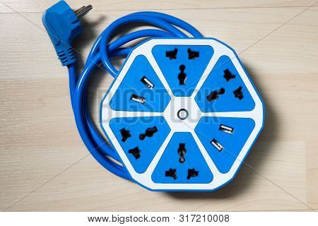 Blue Power Electrical Socket Plug And Usb Port Use Without Adaptor.