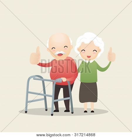 Old Man Walking With A Walking Stick. Old Woman Caring For Elderly Old Man With Walking Stick And Sh