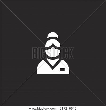 Masseuse Icon. Masseuse Icon Vector Flat Illustration For Graphic And Web Design Isolated On Black B