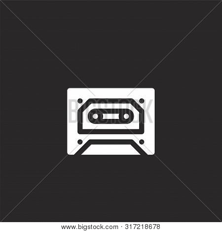 Cassette Icon. Cassette Icon Vector Flat Illustration For Graphic And Web Design Isolated On Black B