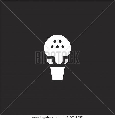 Ice Cream Icon. Ice Cream Icon Vector Flat Illustration For Graphic And Web Design Isolated On Black