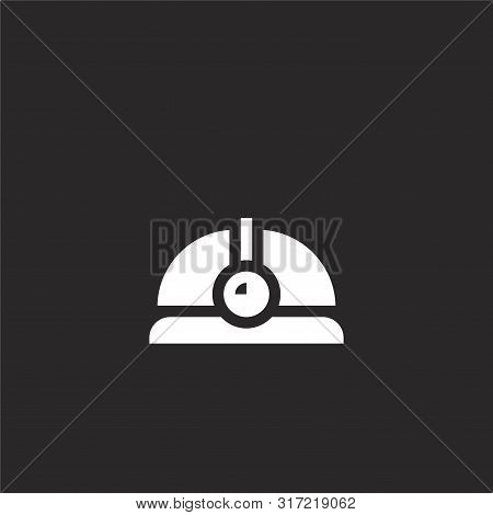 Hard Hat Icon. Hard Hat Icon Vector Flat Illustration For Graphic And Web Design Isolated On Black B