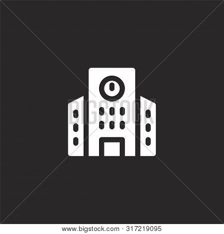 University Icon. University Icon Vector Flat Illustration For Graphic And Web Design Isolated On Bla