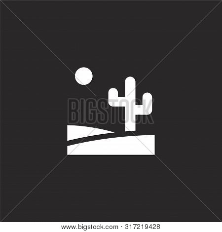 Desert Icon. Desert Icon Vector Flat Illustration For Graphic And Web Design Isolated On Black Backg