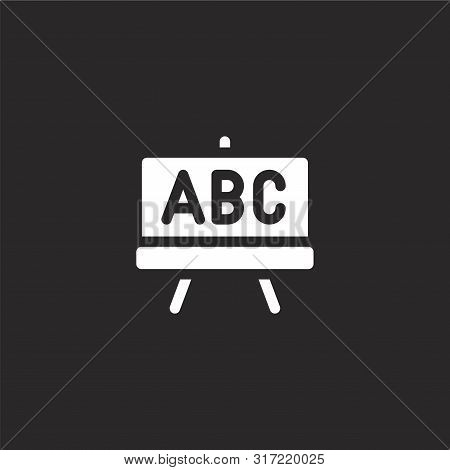 Blackboard Icon. Blackboard Icon Vector Flat Illustration For Graphic And Web Design Isolated On Bla