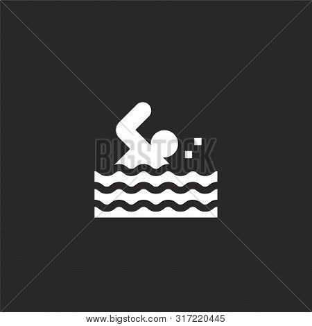 Swimming Icon. Swimming Icon Vector Flat Illustration For Graphic And Web Design Isolated On Black B