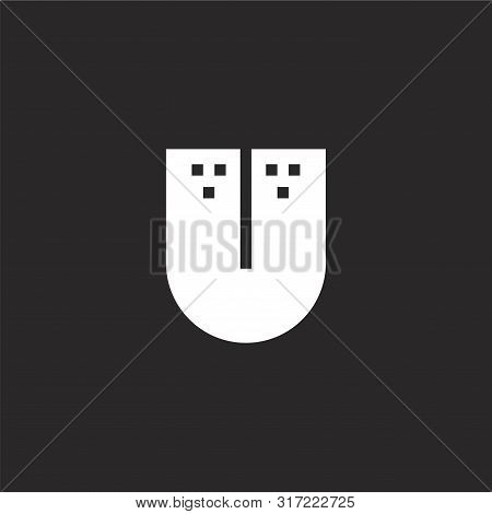Tongue Icon. Tongue Icon Vector Flat Illustration For Graphic And Web Design Isolated On Black Backg