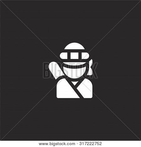 Ninja Icon. Ninja Icon Vector Flat Illustration For Graphic And Web Design Isolated On Black Backgro