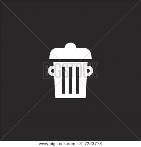 Trash Can Icon. Trash Can Icon Vector Flat Illustration For Graphic And Web Design Isolated On Black