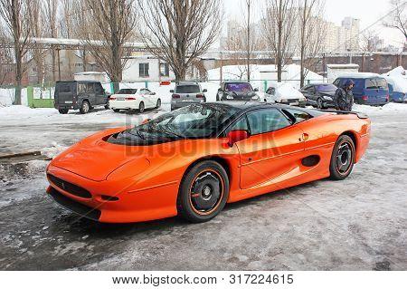 January 3, 2013; Kiev, Ukraine. Jaguar Xj220 (1991). Hypercar. Winter. Cold