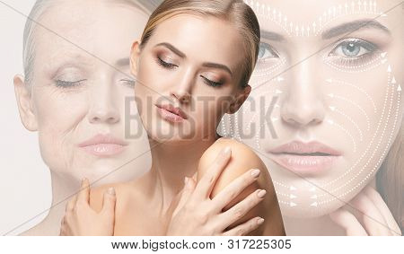 Beautiful Female Face Isolated On White Background. Concept Of Bodycare, Cosmetics, Skincare And Lif