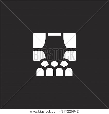 Theatre Icon. Theatre Icon Vector Flat Illustration For Graphic And Web Design Isolated On Black Bac
