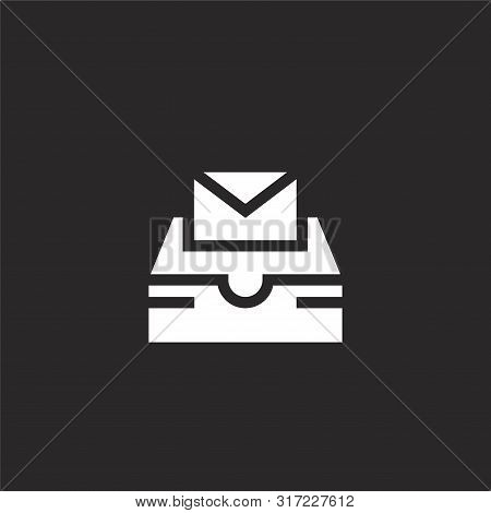 Inbox Icon. Inbox Icon Vector Flat Illustration For Graphic And Web Design Isolated On Black Backgro