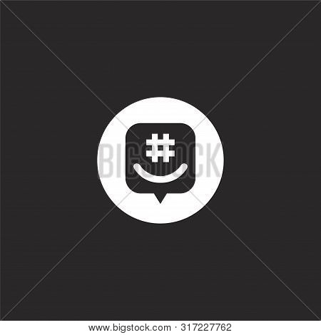 Groupme Icon. Groupme Icon Vector Flat Illustration For Graphic And Web Design Isolated On Black Bac
