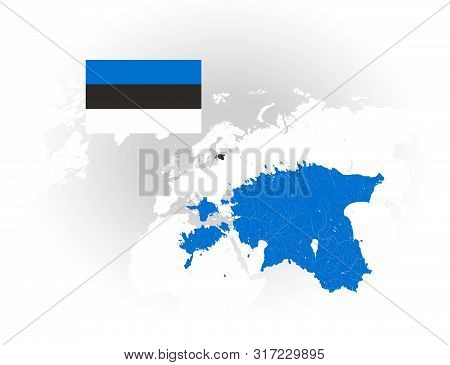 Map Of Estonia With Rivers And Lakes, National Flag Of Estonia And World Map As Background. Please L