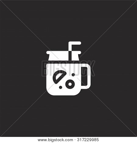 Mojito Icon. Mojito Icon Vector Flat Illustration For Graphic And Web Design Isolated On Black Backg