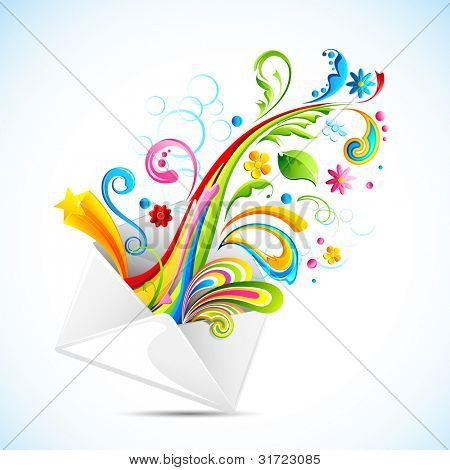 illustration of colorful swirls coming out of envelope
