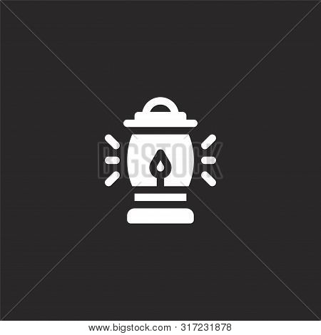 Oil Lamp Icon. Oil Lamp Icon Vector Flat Illustration For Graphic And Web Design Isolated On Black B