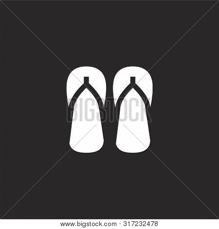 Flip Flops Icon. Flip Flops Icon Vector Flat Illustration For Graphic And Web Design Isolated On Bla