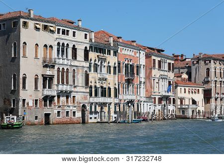 View Of Palaces And Houses In Venice Italy And The Major Waterway Called Grand Canal Or Canal Grande