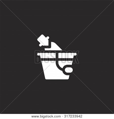 Ice Bucket Icon. Ice Bucket Icon Vector Flat Illustration For Graphic And Web Design Isolated On Bla
