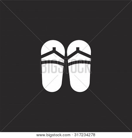 Sandals Icon. Sandals Icon Vector Flat Illustration For Graphic And Web Design Isolated On Black Bac