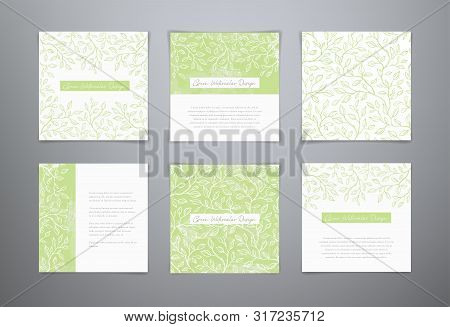 Set Vector Green Watercolor Templates. Frame With Tea Leaves. Vector Seamless Leaves Background. Wat