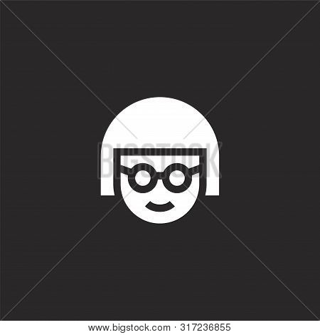 Avatar Icon. Avatar Icon Vector Flat Illustration For Graphic And Web Design Isolated On Black Backg