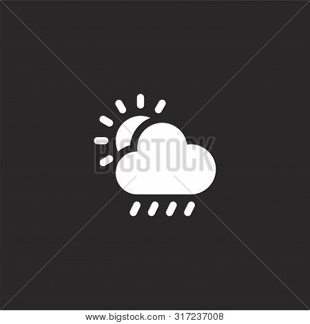 Weather Icon. Weather Icon Vector Flat Illustration For Graphic And Web Design Isolated On Black Bac