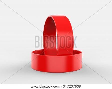 Blank Silicone Wristband, Rubber Bracelet or Party Favor For mockup Design. 3D Illustration. poster