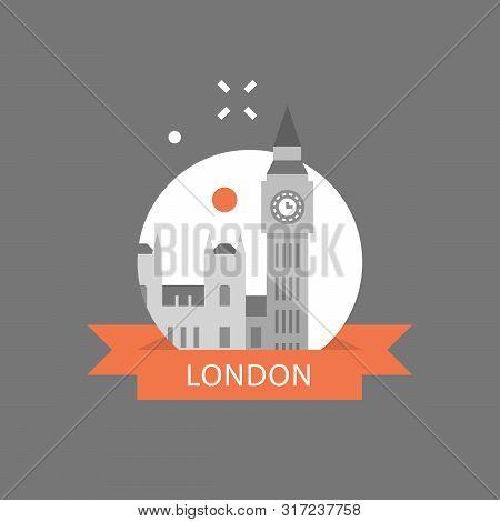 London Symbol, Travel Destination, Famous Landmark, Big Ben Tower With Clock, The Capital Of England