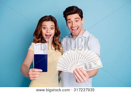Portrait Of Nice Attractive Lovely Cheerful Cheery Ecstatic Married Spouses Holding In Hands Giving