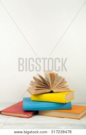 Open Book, Hardback Colorful Books On Wooden Table. Back To School. Copy Space For Text. Education B