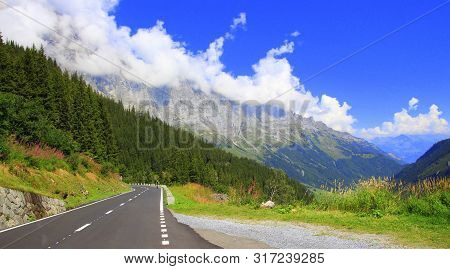 Landscape View Of The Mountain Pass Susten Pass In The Swiss Alps.