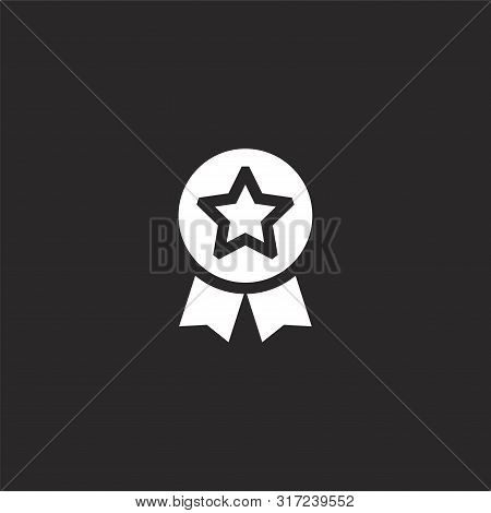 Medal Icon. Medal Icon Vector Flat Illustration For Graphic And Web Design Isolated On Black Backgro