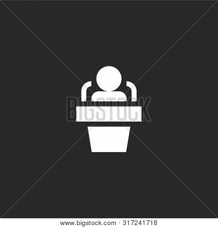 Interview Icon. Interview Icon Vector Flat Illustration For Graphic And Web Design Isolated On Black