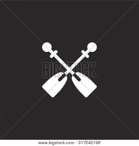 Rowing Icon. Rowing Icon Vector Flat Illustration For Graphic And Web Design Isolated On Black Backg