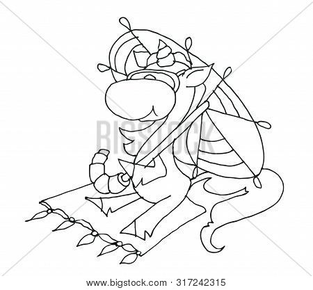 Coloring Book For Kids - Unicorn Sitting On A Rug Under An Umbrella. Black And White Cute Cartoon Un