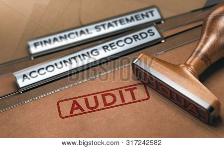 Rubber Stamp Over Two Folders With The Text Financial Statements, Accounting Records And The Word Au